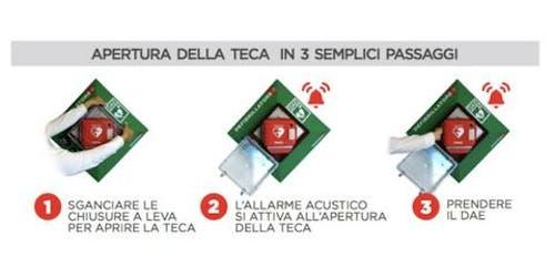 istruzioni apertura teca per defibrillatore