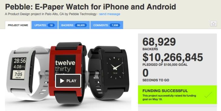 The famous Pebble Watch kickstarter