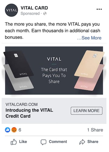 Early online ad experiment that we ran for Vital Card