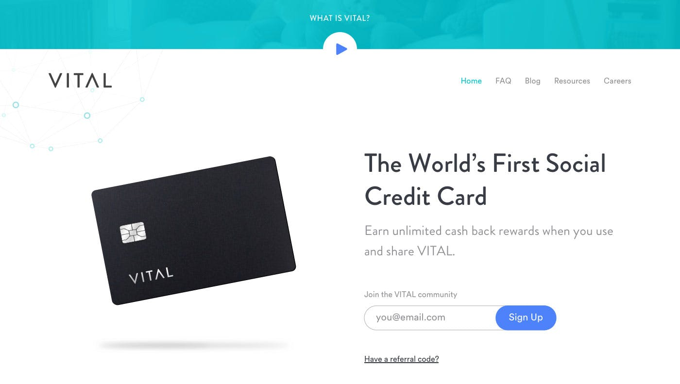 Early landing page for Vital Card