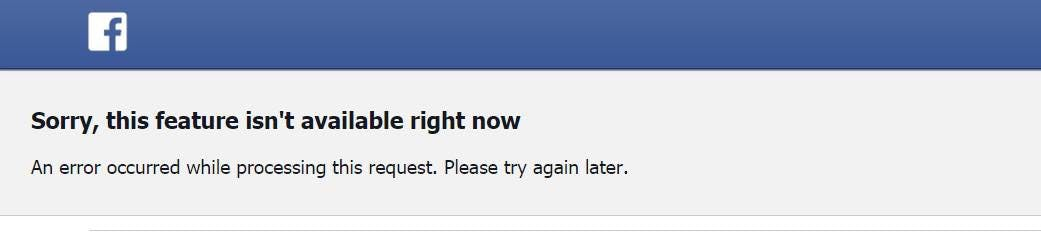 Button to nowhere on Facebook