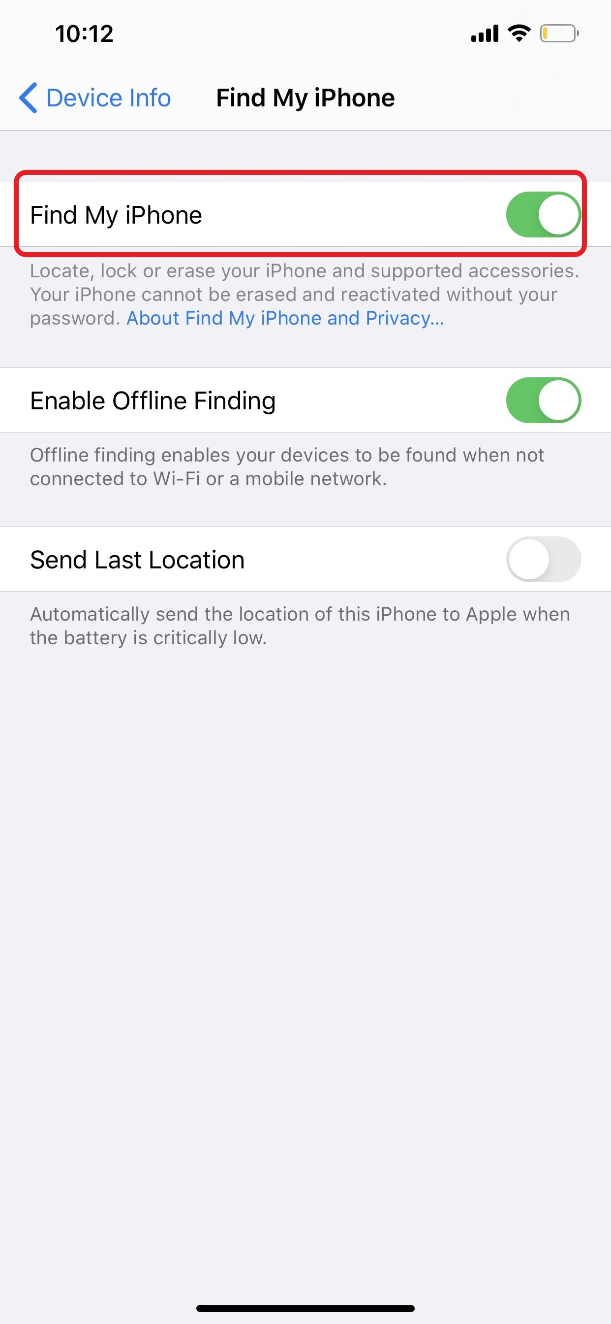 iPhone Remove From Find My iPhone Settings