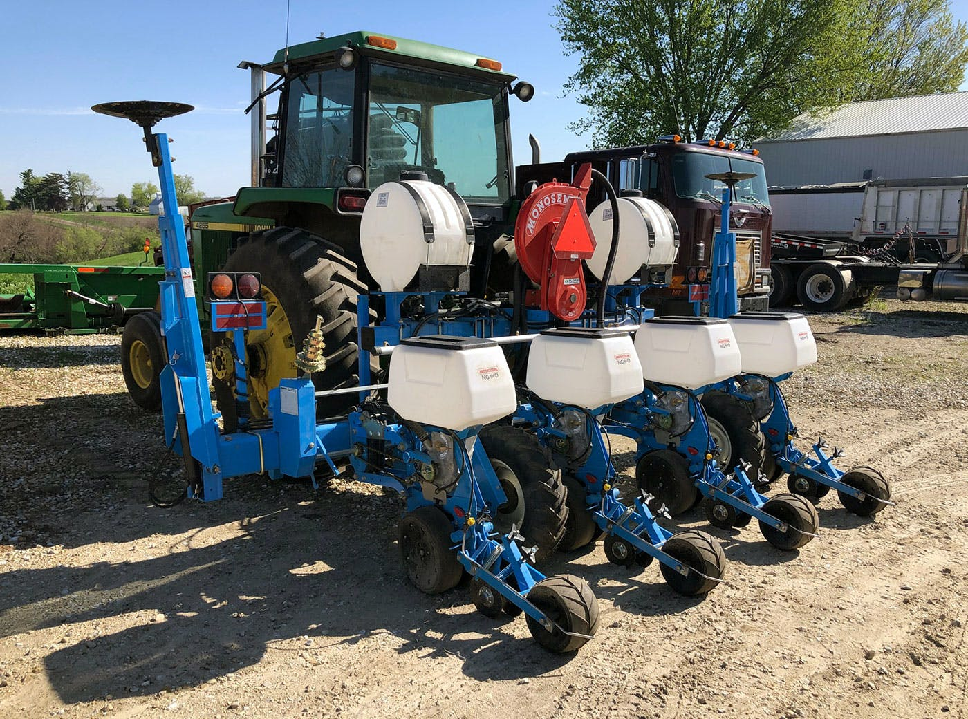 American Hemp Research planter with plates for field trial plots as well as production