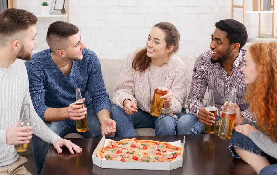 Friends meeting for pizza
