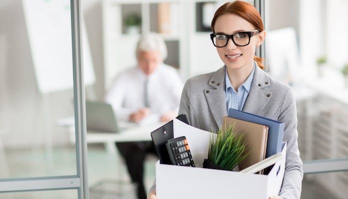 Woman getting new job