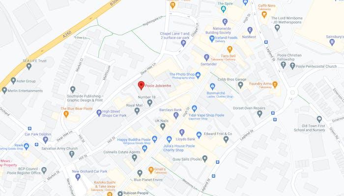 map showing Poole job centre