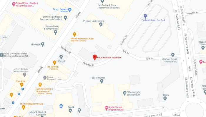 map showing Bournemouth job centre