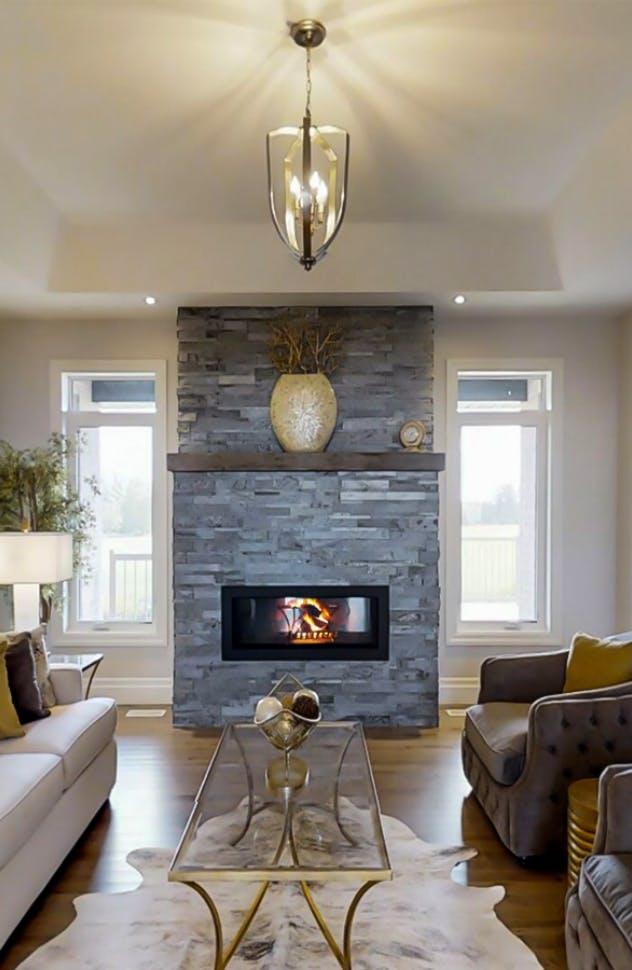 Lavish living room with grand fireplace