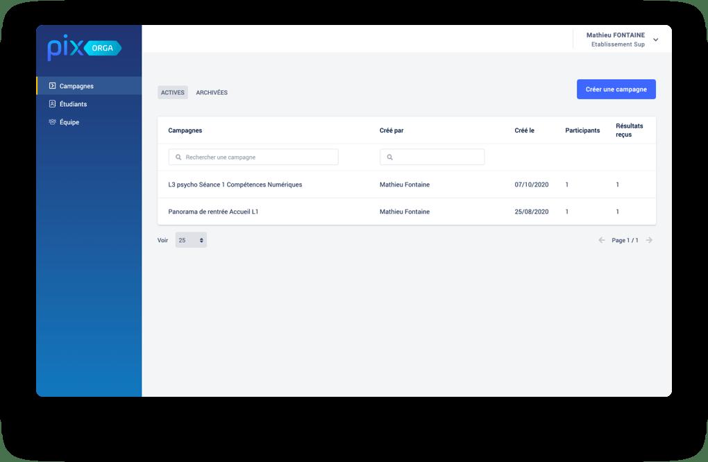 Pix Orga - interface du dashboard