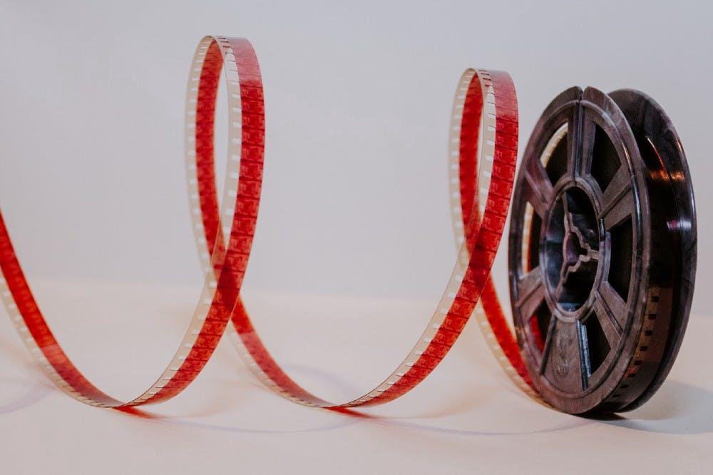 Photo of unspooled film reel