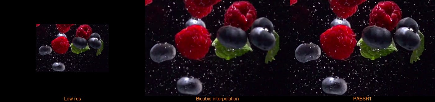 Stills from upscaled stock video of berries comparing and contrasting 'low res', 'bicubic interpolation' and 'PABSR1'