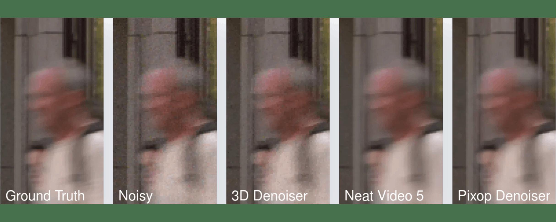 Noisy frame denoised using popular denoising software programs.