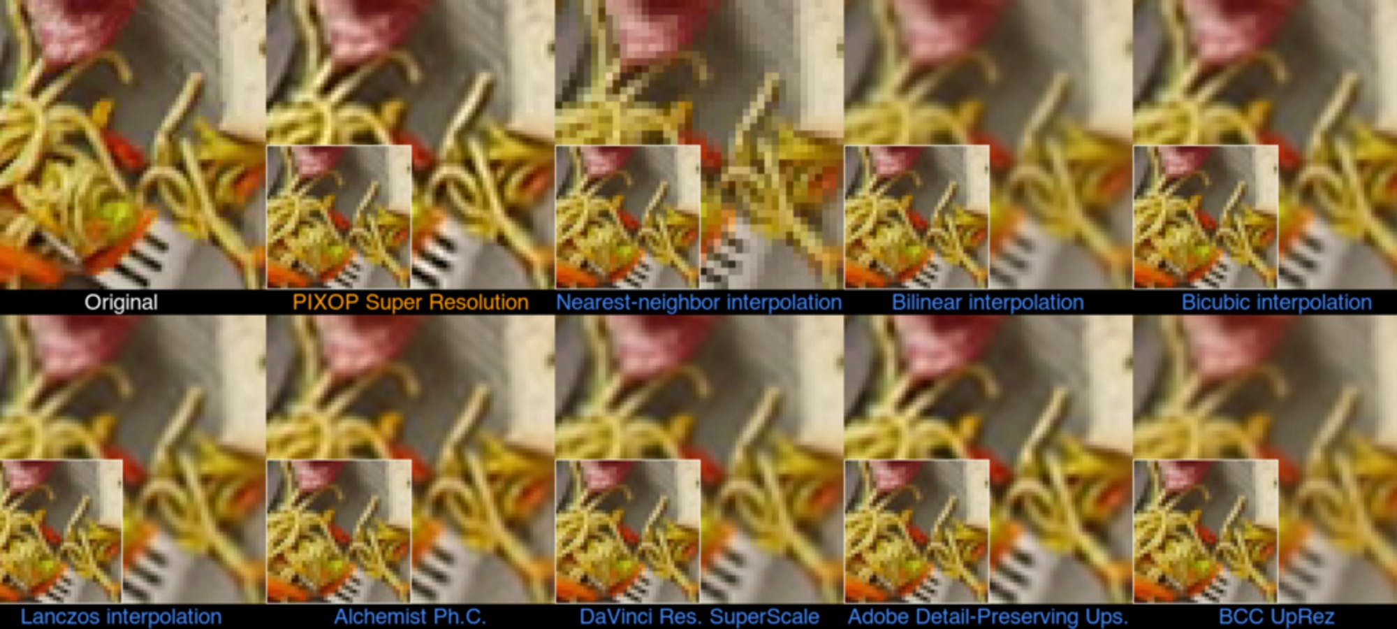Composite image of upscaled stock footage stills.