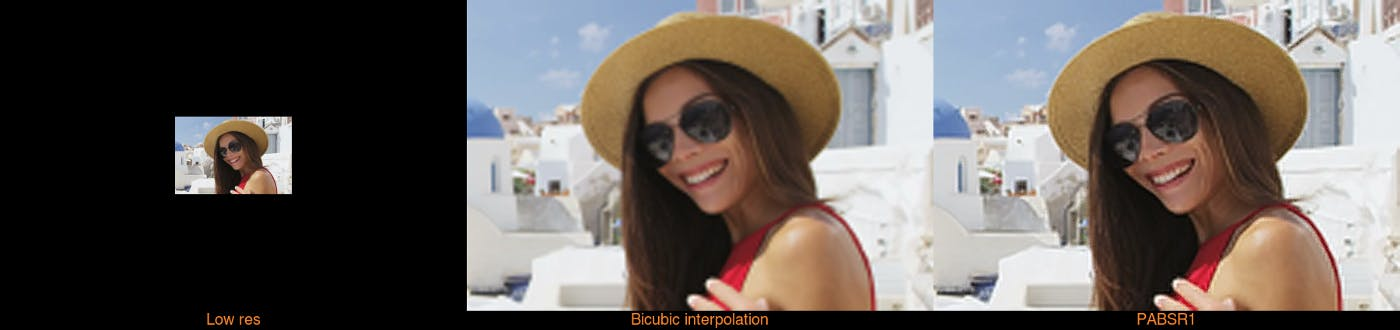 Stills from upscaled stock video of woman in Santorini comparing and contrasting 'low res', 'bicubic interpolation' and 'PABSR1'