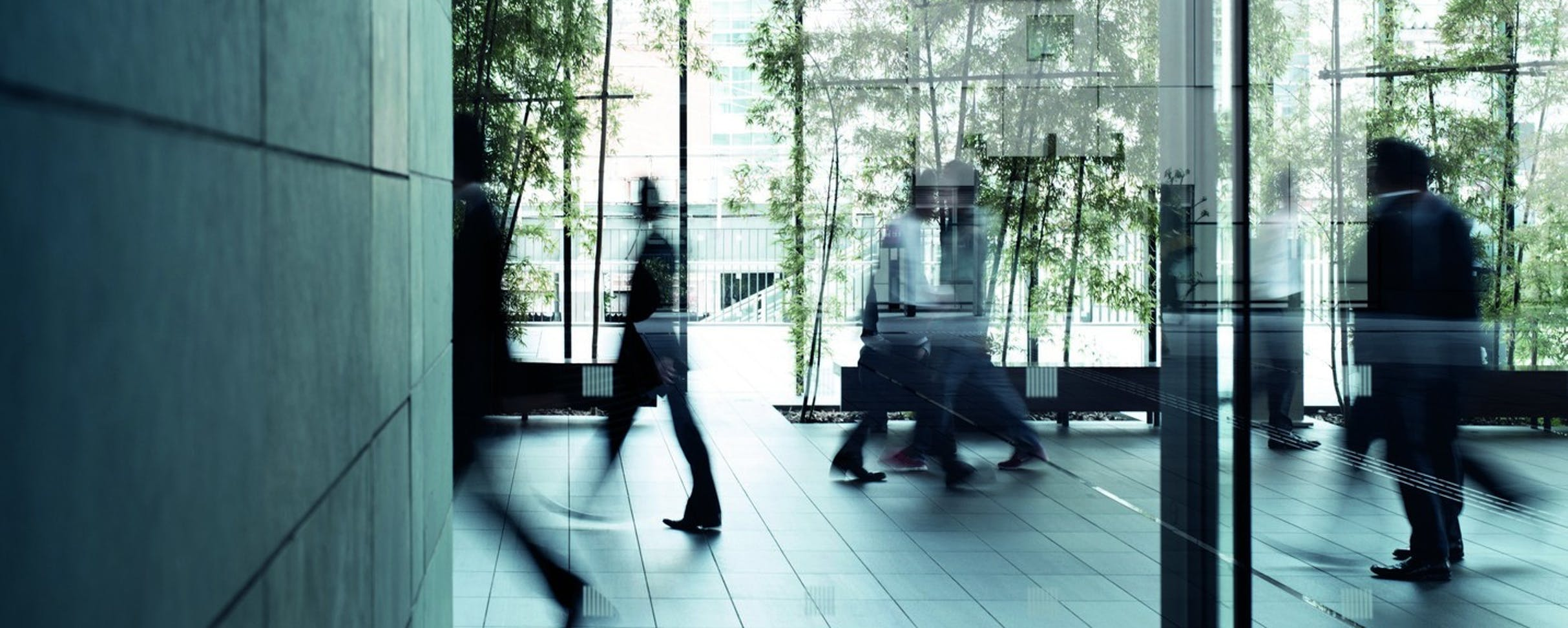 Image of office hallway with people walking.