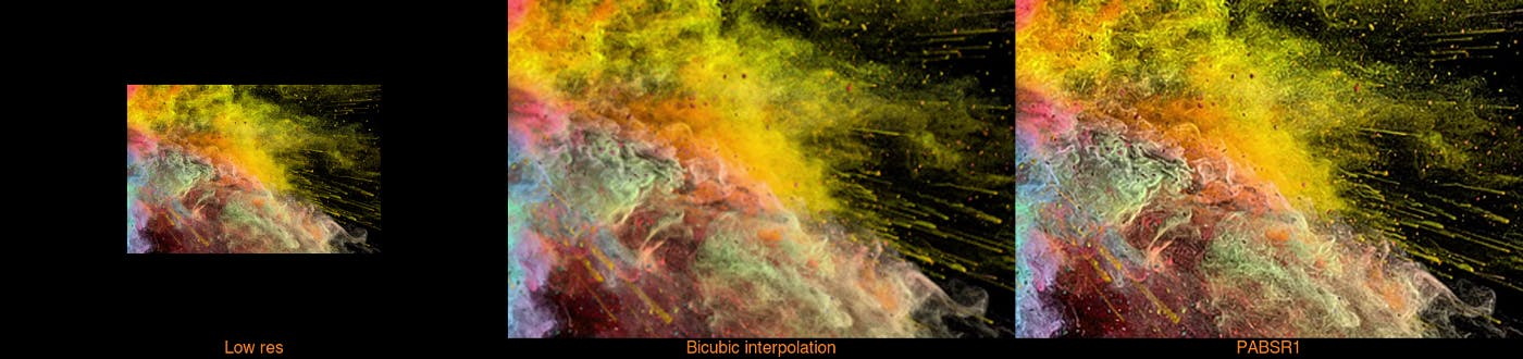 Stills from upscaled stock video of color explosion comparing and contrasting 'low res', 'bicubic interpolation' and 'PABSR1'