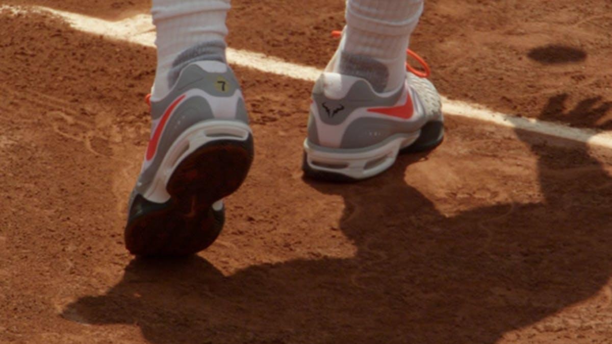Closeup of man wearing tennis shoes