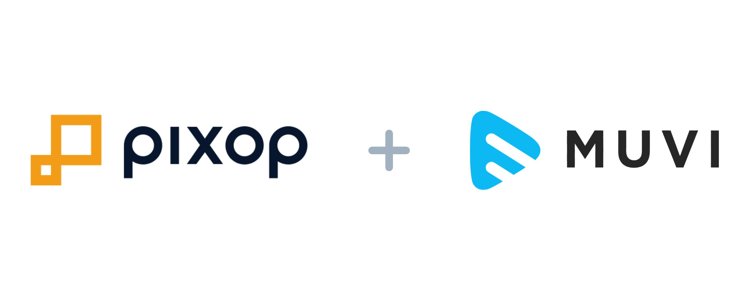 Logo for Pixop and logo for Muvi