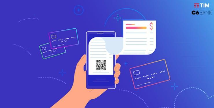 Parceria C6 Bank e TIM: ilustração de celular cercado de cartões de crédito e fatura
