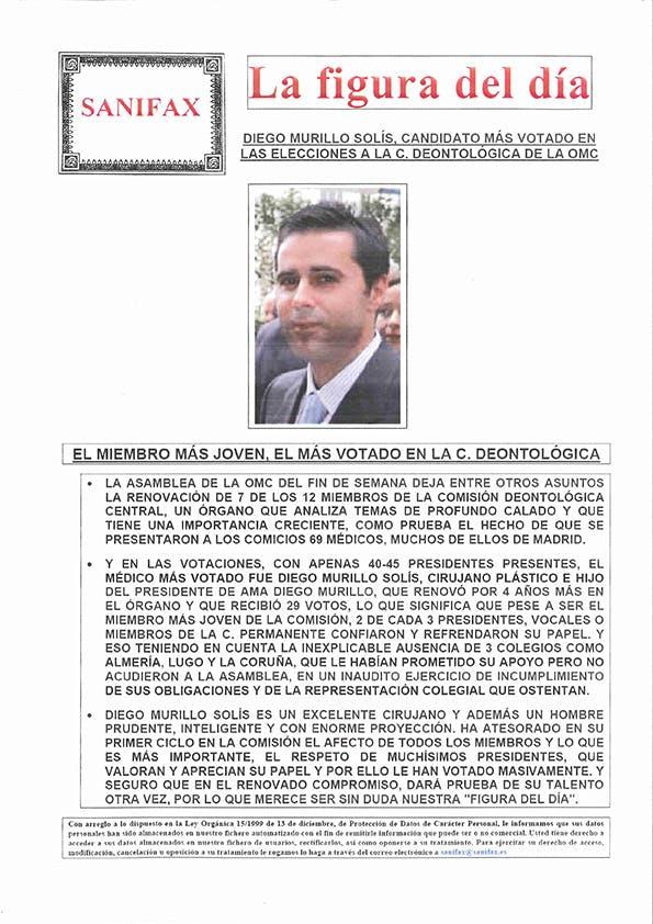 Diego Murillo Solís, candidato más votado en las elecciones a la C. Deontológica de la OMC