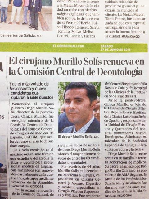 El cirujano Murillo Solís renueva en la Comisión Central de Deontología