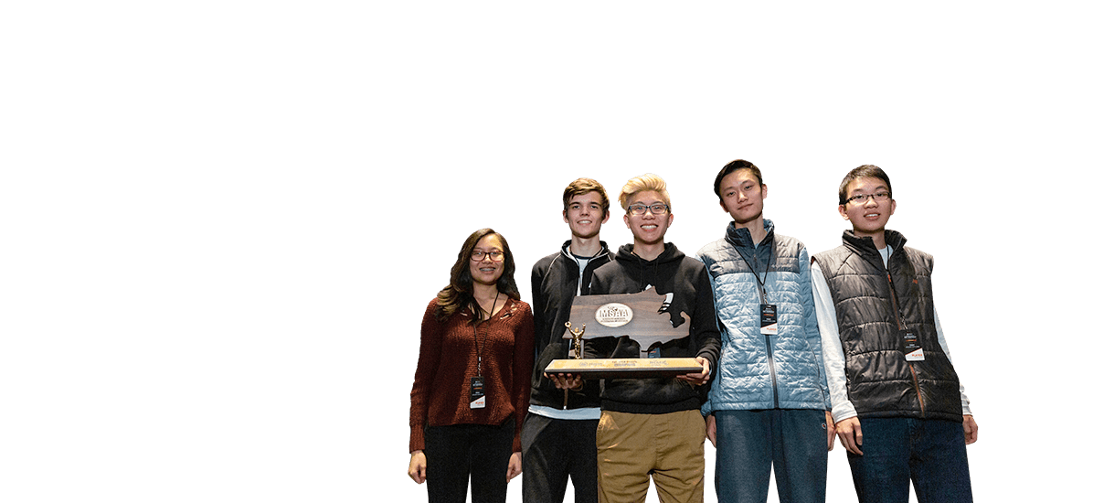 Group of students holding up their Massachusetts esports state championship trophy