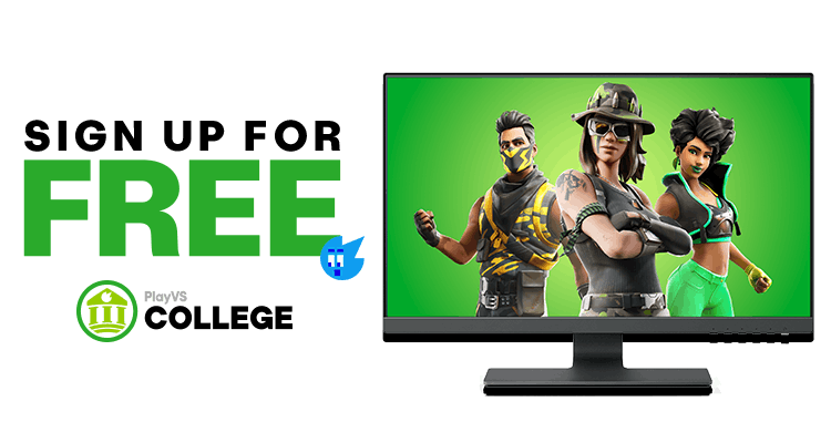Computer screen showing fortnite on PlayVS College