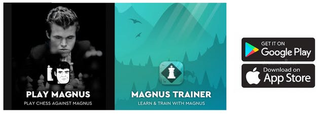 The app icons for Play Magnus app and Magnus Trainer app