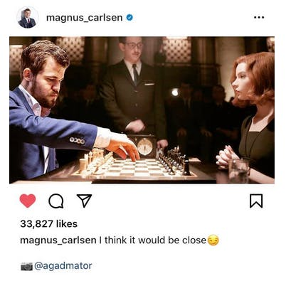 A screenshot of the Magnus Carlsen instagram