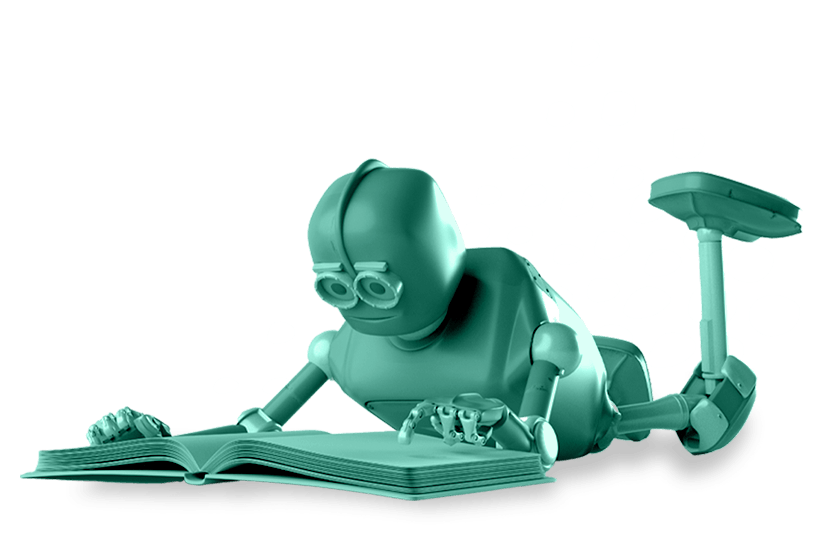 robot laying on floor reading book