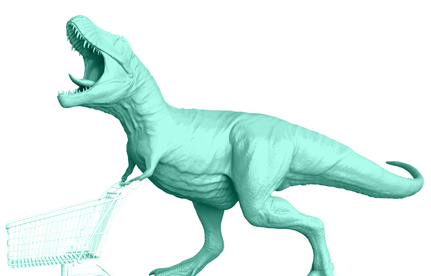 dinosaur teal green pushing shopping cart plotly dash