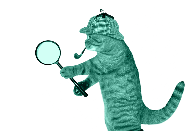 cat wearing a hat smoking a pipe with a magnifying glass