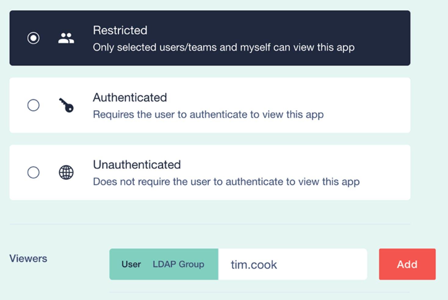 authentication panel