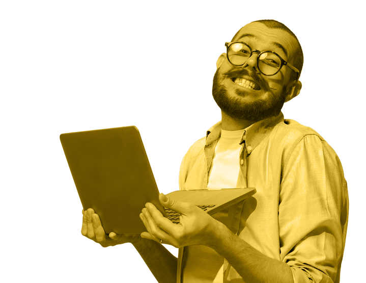 man holding laptop with glasses and mustache smiling