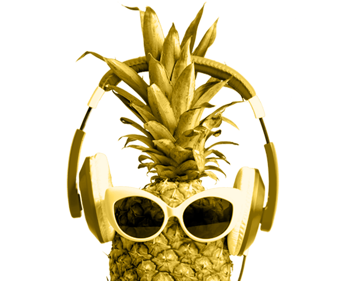 pineapple wearing sunglasses and headphones