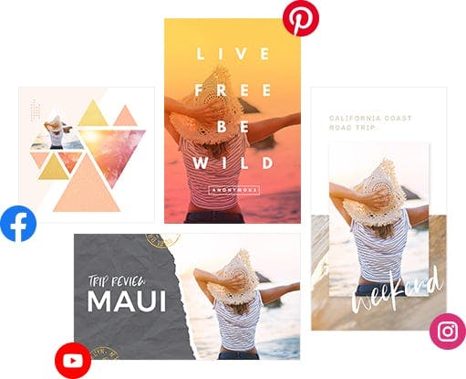 Four colorful social media design output examples with woman on beach