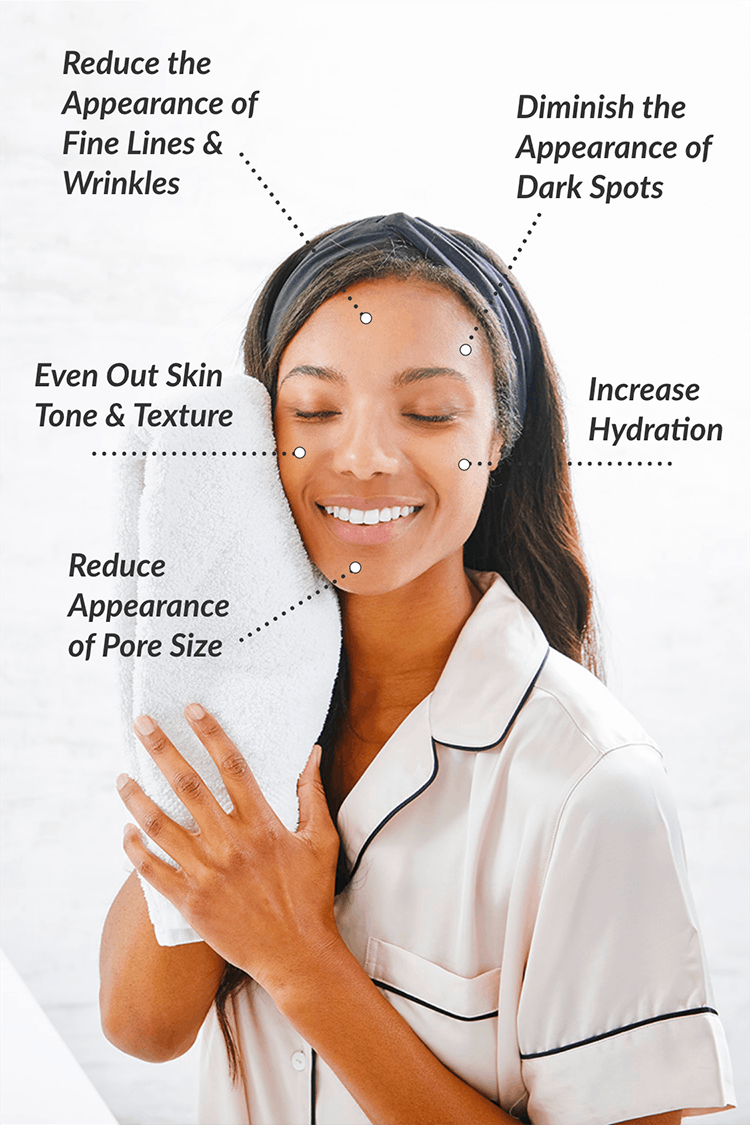 Smiling woman with eyes closed and towel placed on cheek. Text: Reduce the Appearance of Fine Lines & Wrinkles, Diminish the Appearance of Dark Spots, Increase Hydration, Even out skin tone & texture, reduce appearance of pore size