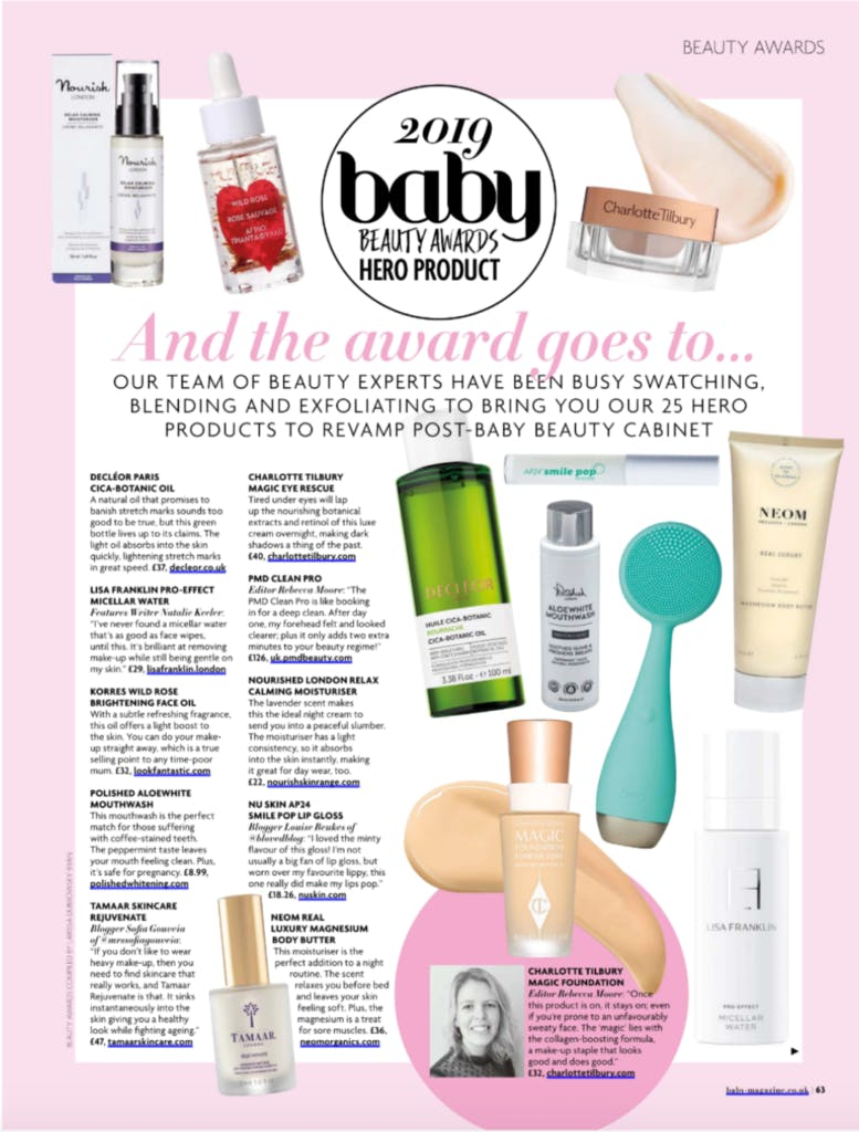 2019 baby Beauty Awards Hero Product featuring the PMD Clean Pro