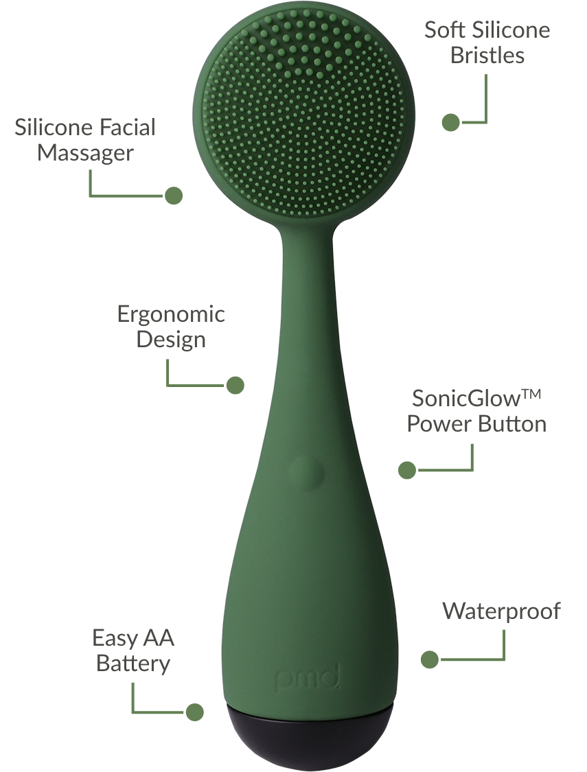 Silicone Facial Massager, Ergonomic Design, Easy AA Battery, Soft Silicone Bristles, SonicGlow Power Button, Waterproof