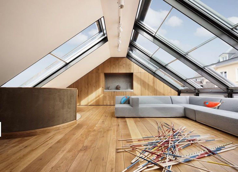 aménagement des combles, grandes fenêtres sur le toit