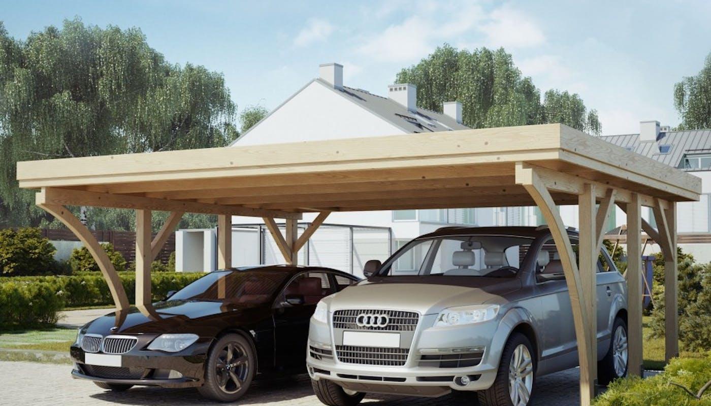 carport en bois pour deux voitures