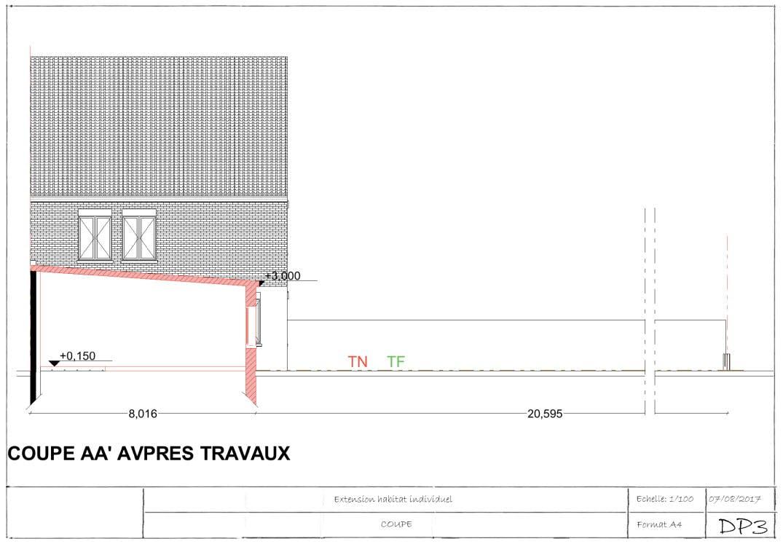 Exemple de permis de construire extension plan de coupe 2