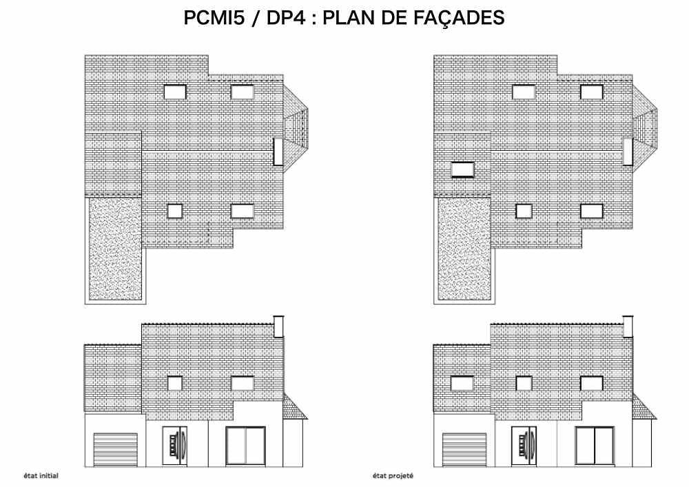 DP4 : plan de façades - fenêtre de toit