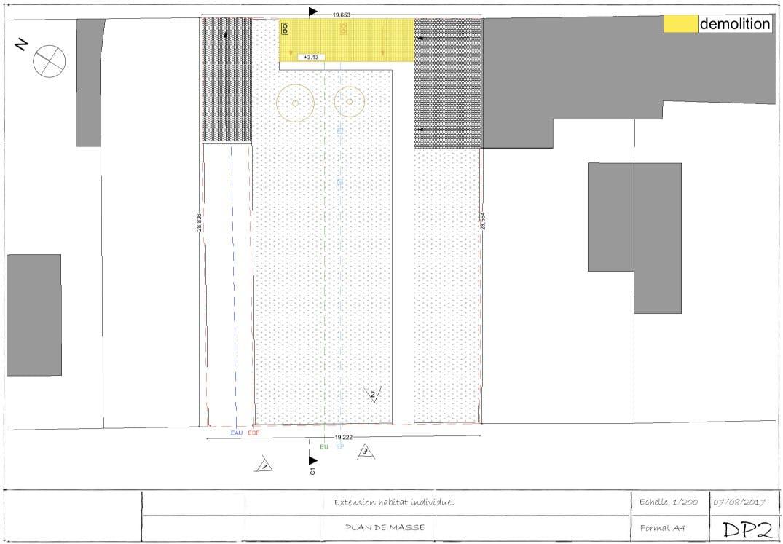 Exemple de permis de construire extension plan de masse 1