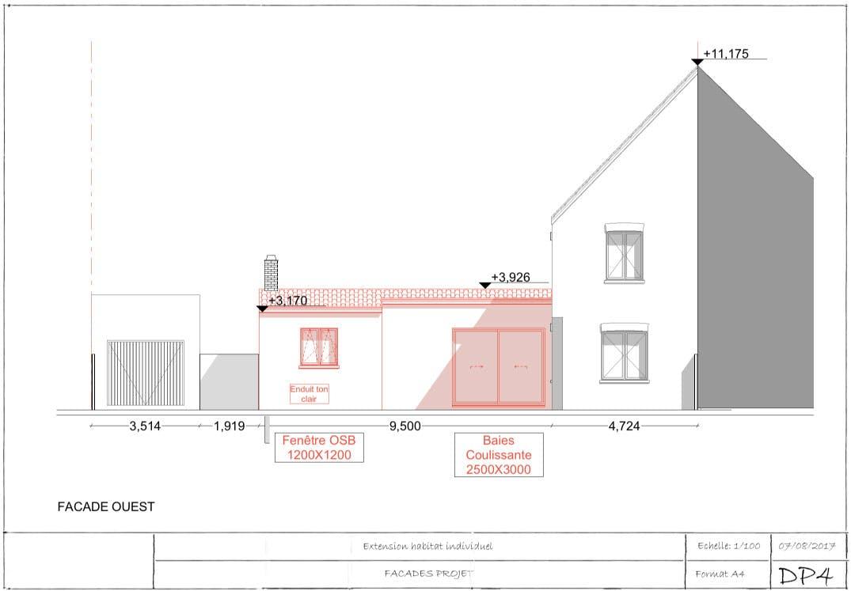 Exemple de permis de construire extension plan de façade 2