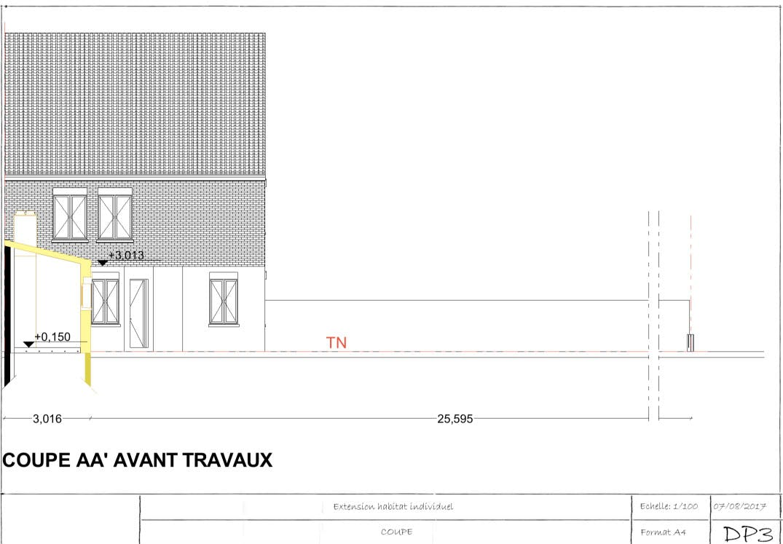 Exemple de permis de construire extension plan de coupe 1