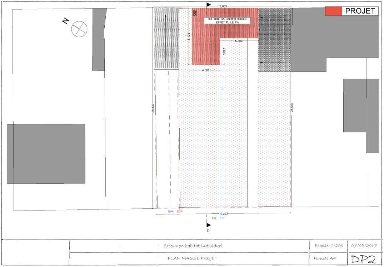 Exemple de permis de construire extension plan de masse 2