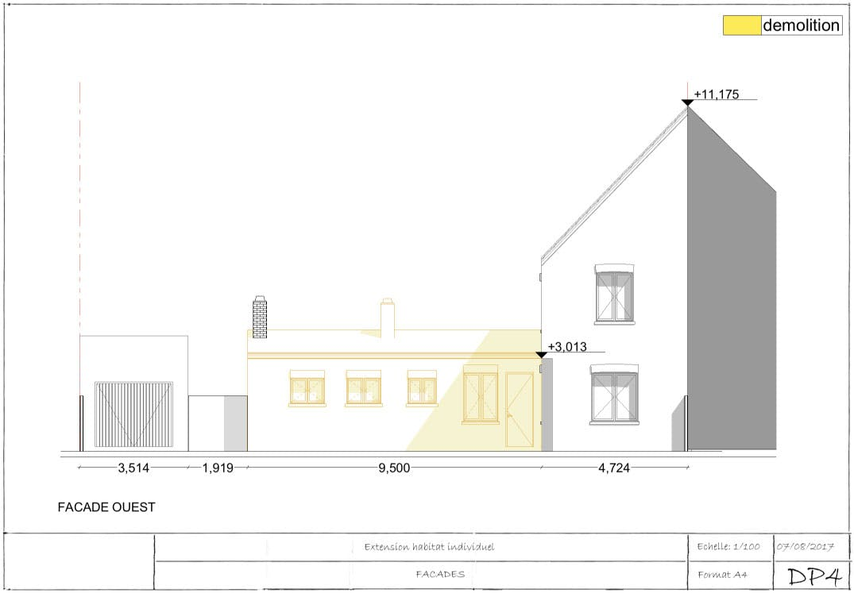 Exemple de permis de construire extension plan de façade 1