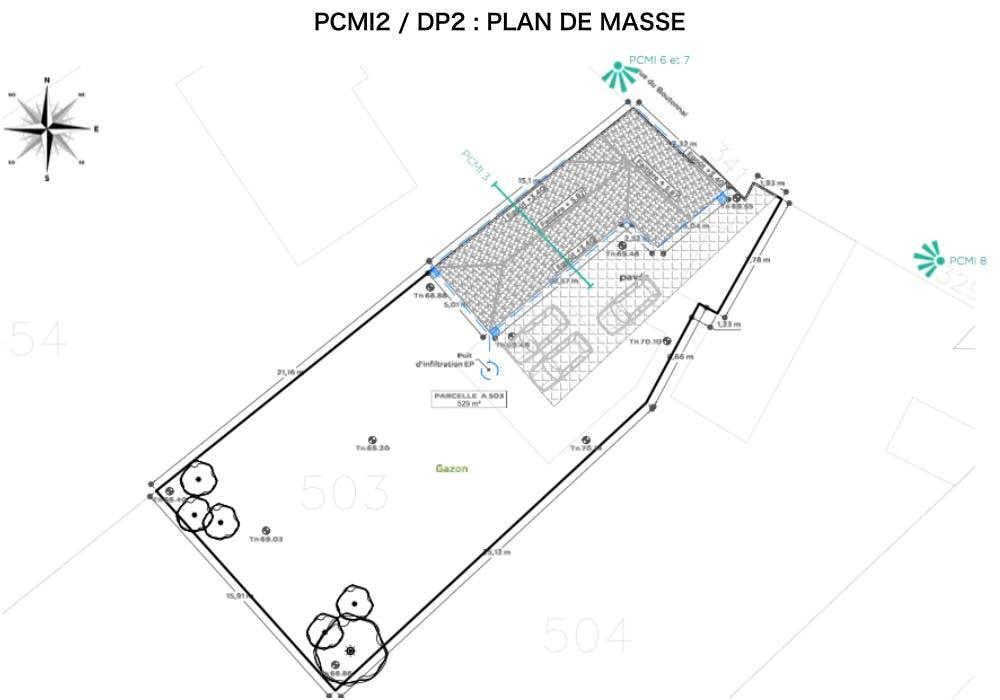 PCMI2 / DP2 : plan de masse - combles