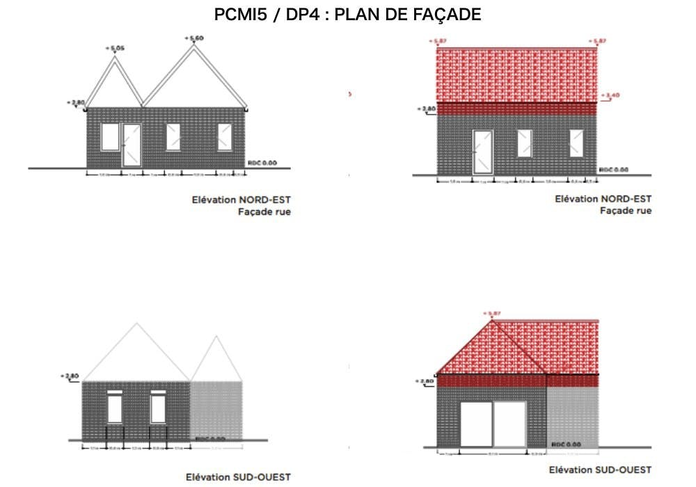 PCMI5 / DP4 - PLAN DE FAÇADE - COMBLES